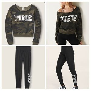 Large Victoria Secret PINK Green Camo Off Shoulder Outfit